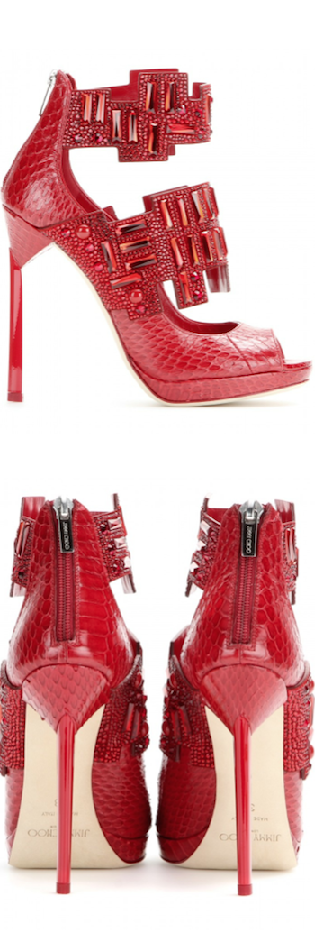 Jimmy Choo Jing Ruby Shiny Elaphe Sandals with Crystals