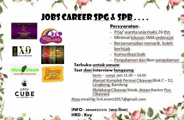 Lowongan Kerja SPG & SPB Entertaiment Bandung November 2017