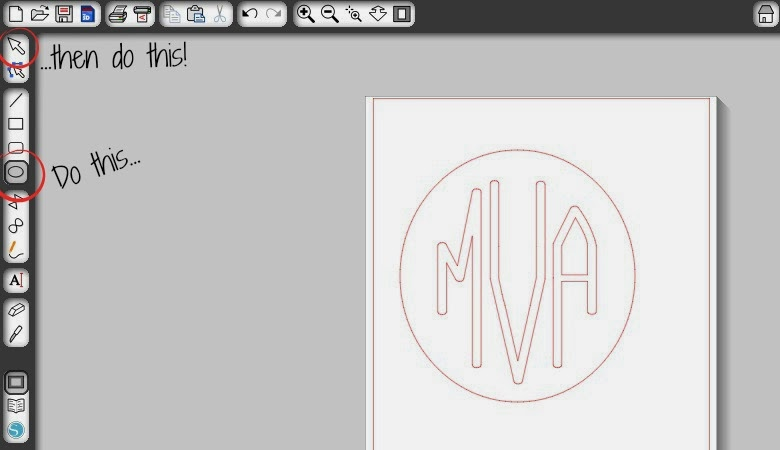 Circle monogram, Silhouette tutorial, free font, Silhouette Studio, draw an ellipse
