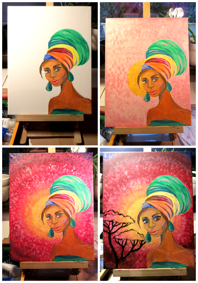 Turban Girl Africa Painting WIP