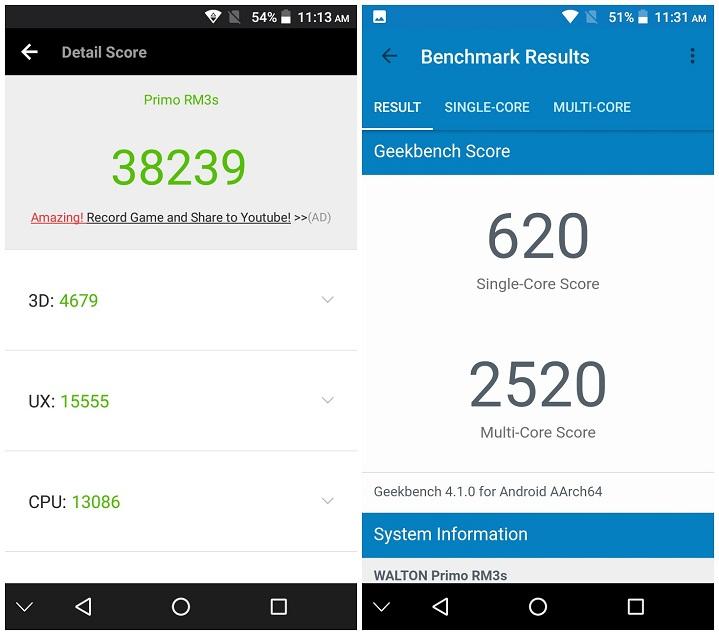 Primo RM3s review Antutu Benchmark Score হ্যান্ডস-অন রিভিউঃ ৪০০০ মিলিঅ্যাম্পিয়ার ব্যাটারি ও ফিঙ্গারপ্রিন্ট সেন্সরসমৃদ্ধ Walton Primo RM3s