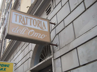 restaurant sign: Trattoria dell'Omo, Rome