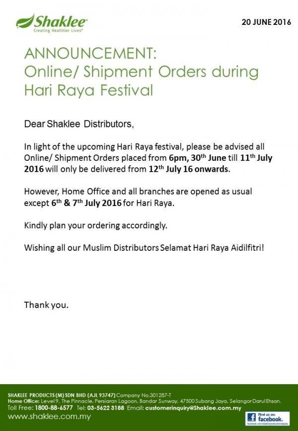 Reminder : Online Shipment Order Plan During Hari raya Festival