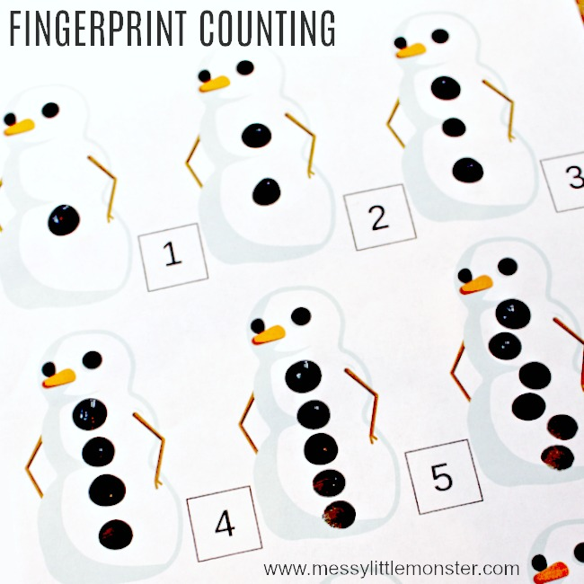 printable snowman fingerprint counting activity for kids