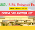 HNBGU B.ed Entrance Exam Answer Key 2017