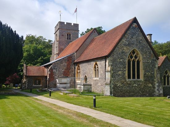 St Mary's Church, North Mymms, which has mason marks on some of the tower steps - July 2018 Image by the North Mymms History Project, released under Creative Commons BY-NC-SA 4.0
