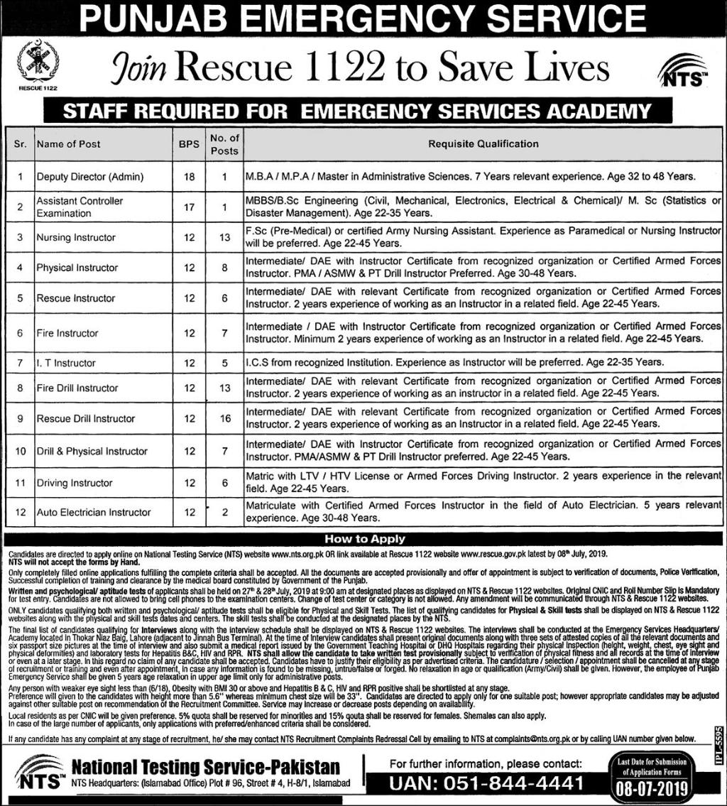 Rescue 1122 Jobs 2019 through NTS (185 Posts)