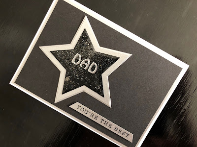 Hand made Fathers Day card with die cut, heat embossed star and stamped greeting