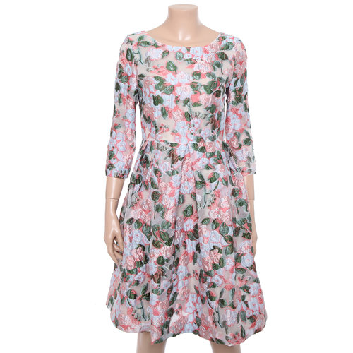 Three-Quarter Sleeved Floral Dress