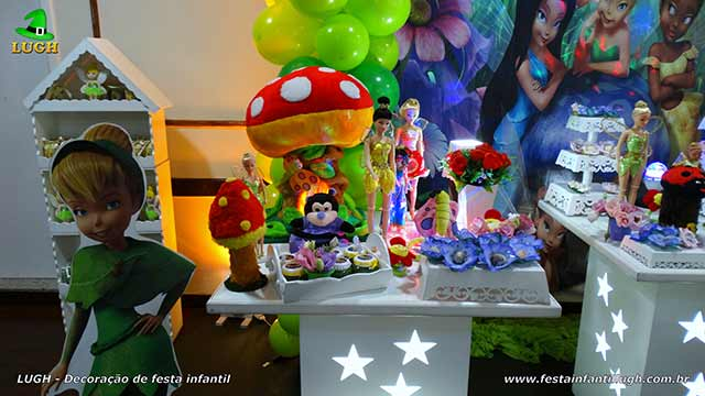 Mesa decorada de aniversário Tinker Bell para festa infantil
