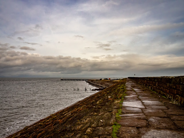 Photo of the walk along the sea wall at Maryport around midday on Monday