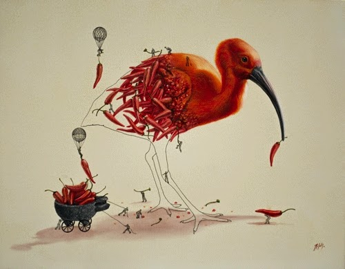 10-Red-Hot-Chili-Bird-Ricardo-Solis-Animal-Paintings-and-their-Back-Story-www-designstack-co