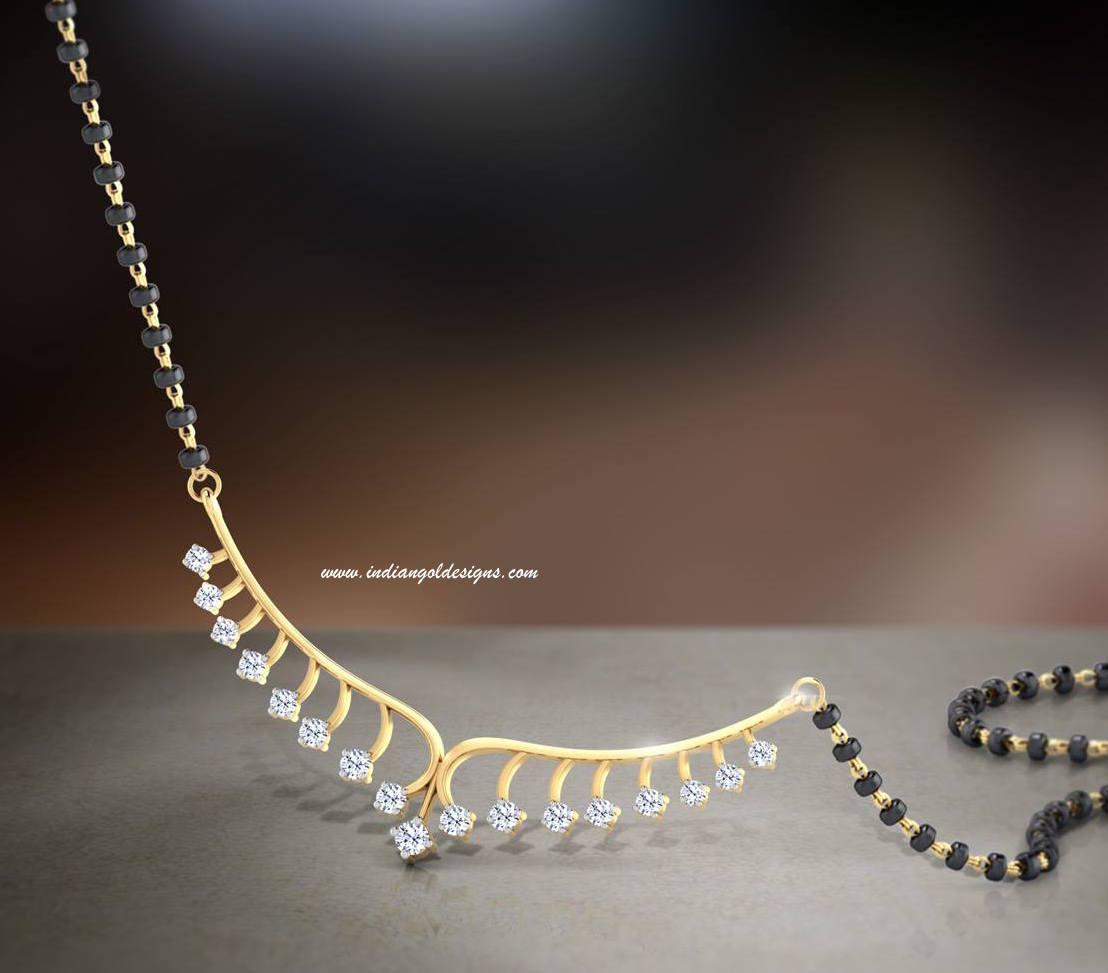 Gold and Diamond jewellery designs: Tanishq black beads diamond ...