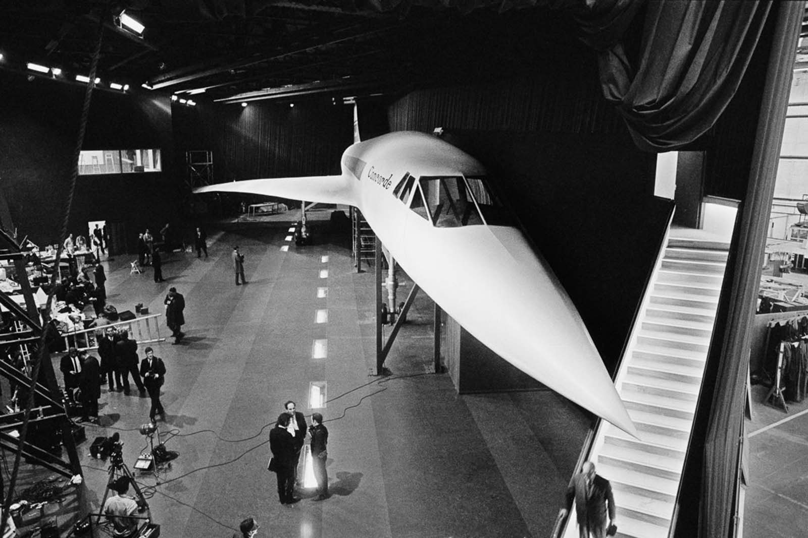 A full-scale wooden model of the Concorde on display. 1967.