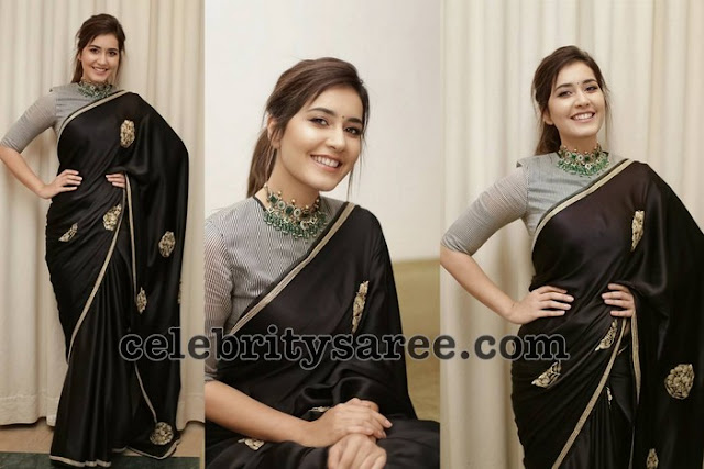 Rashi Khanna in Black Crepe Saree