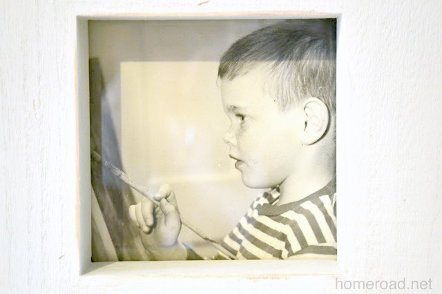 Favorite black and white child photo in a rustic frame