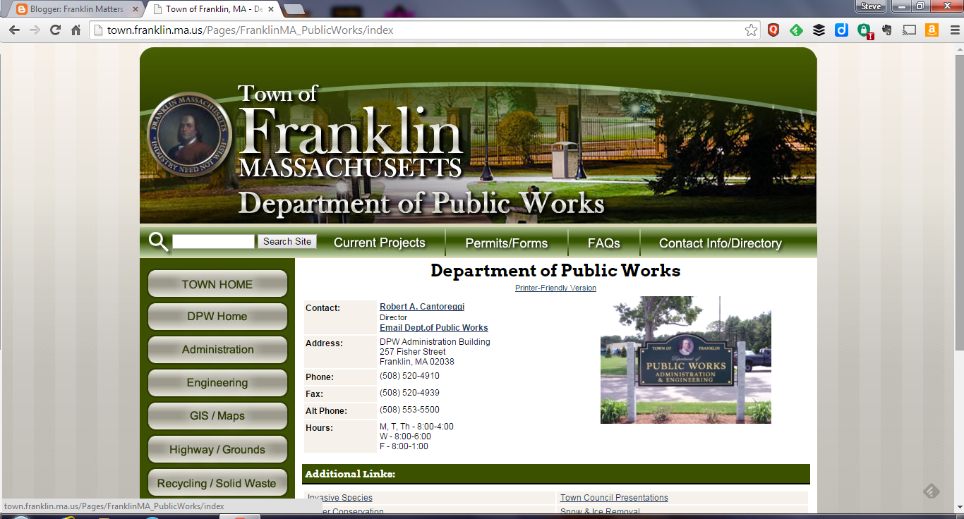 screen grab of Franklin DPW webpage