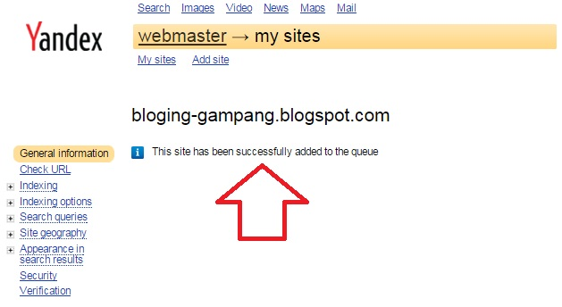 cara submit blog di webmaster yandex