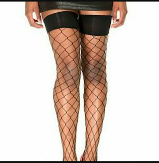 image of Fishnet thigh high stockings