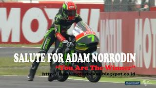 ADAM NORRODIN Pembalap Moto3 Malaysia Mendapat Pujian Dari Seluruh Dunia Atas Semangatnya...