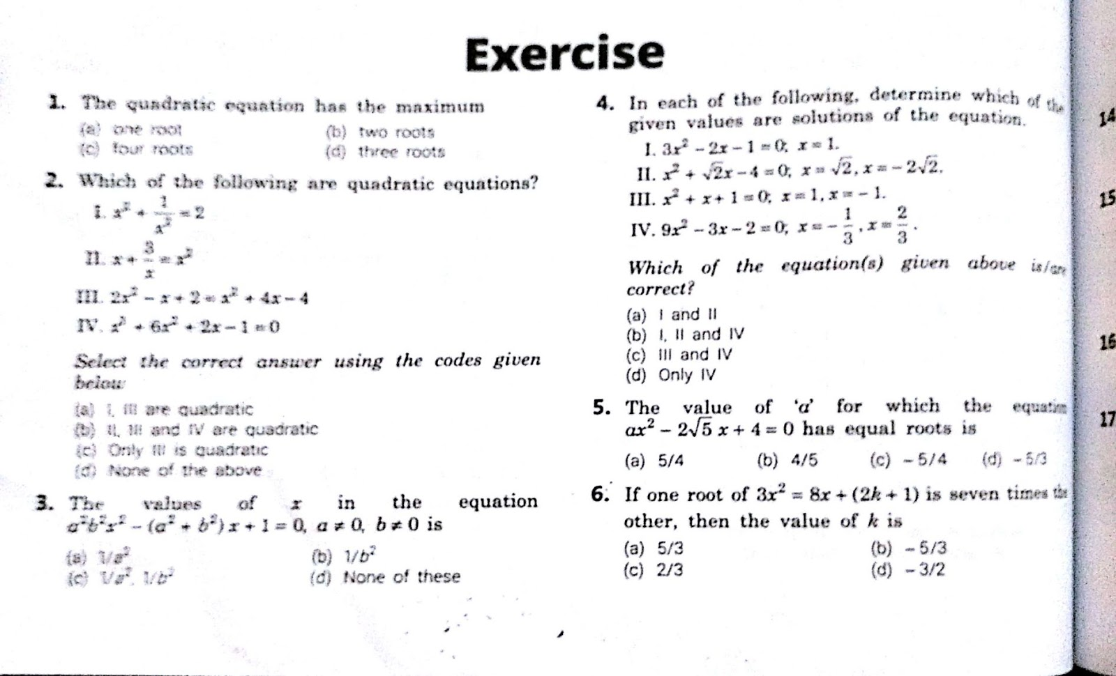 Quadratic Equation Exercise 4 1
