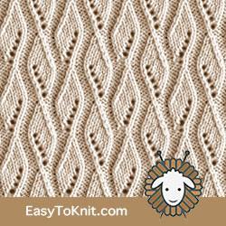 Eyelet Lace 84: Ribbon | Easy to knit #knittingstitches #eyeletlace