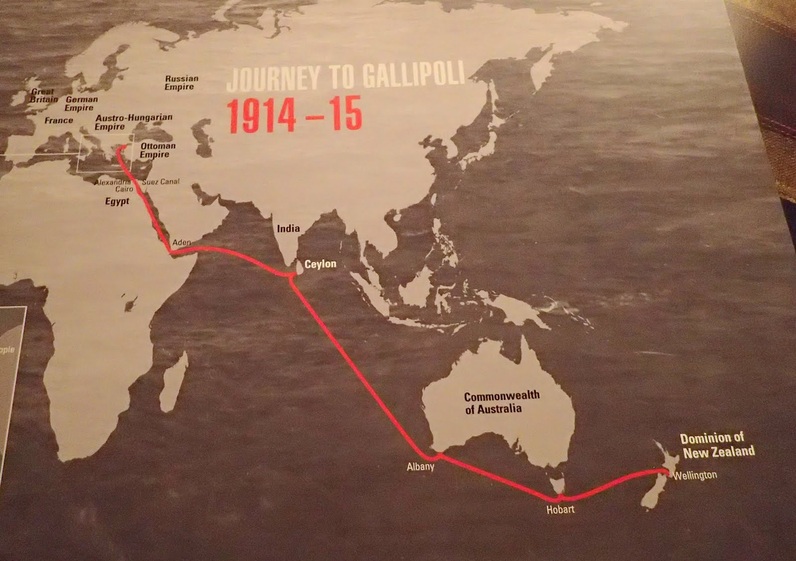Route of the 1915 ANZAC ships from NZ to Gallipoli
