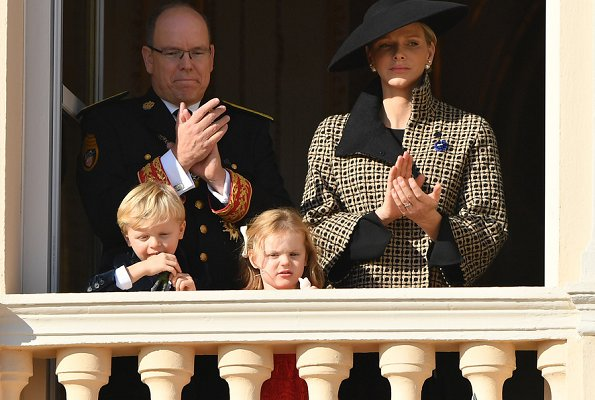 Crown Prince Jacques and Princess Gabriella watched the celebrations from the window of the Palace