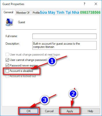 Tích bỏ chọn dòng Account is disable