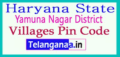 Yamuna Nagar Pin Codes in  Haryana State