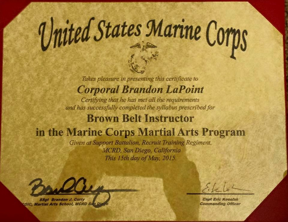 the mai mcmap martial arts instructor coursehe not only graduated but also received cert of commendation and honor grad as well way to go bud