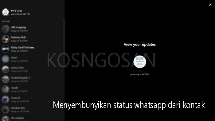 menyembunyikan status whatsapp