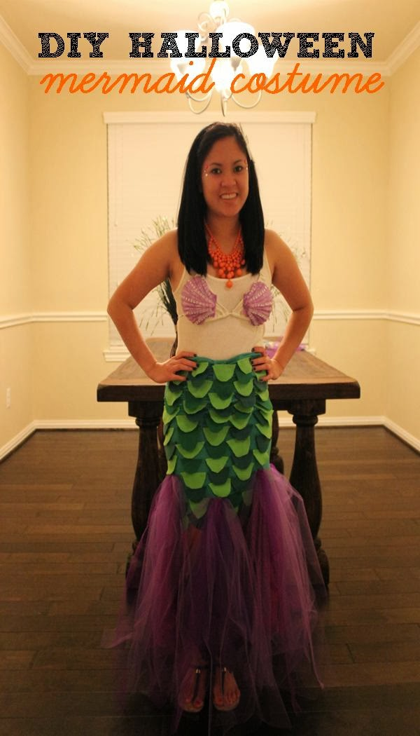 This is the PG rated mermaid costume since I was wearing it to work. You can easily wear the costume without the white tank top.  sc 1 st  Domesticated Diva & Domesticated Diva: Trick or Treat: DIY Halloween Mermaid Costume