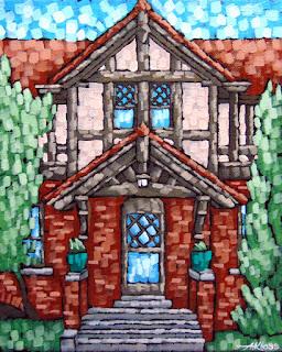 Glensheen Estate Painting by artist Aaron Kloss from Plein Aire Duluth, painting of glensheen, acrylic painting, landscape of glensheen, aaron kloss glensheen