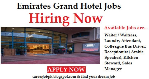 Latest Emirates Grand Hotel jobs Dubai UAE