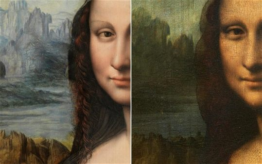 The recently renovated painting (left) and Leonardo da Vinci's Mona Lisa