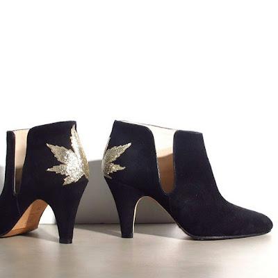 Boots Patricia Blanchet daim noir gold