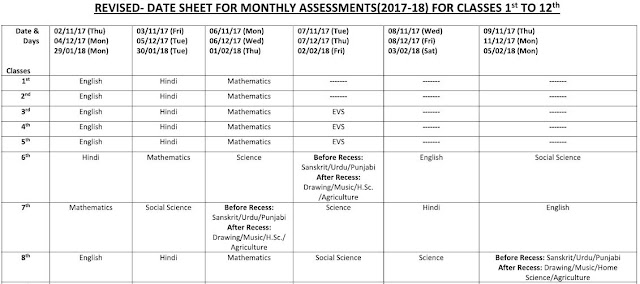 image : Revised Monthly Test Date Sheet 2017-18 for class 1-8 for Haryana Govt. Schools @ Haryana-Education-News.com