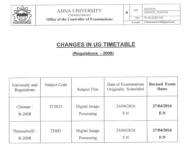 New Changed Anna University April-2016 Exam Time Table for R-2008