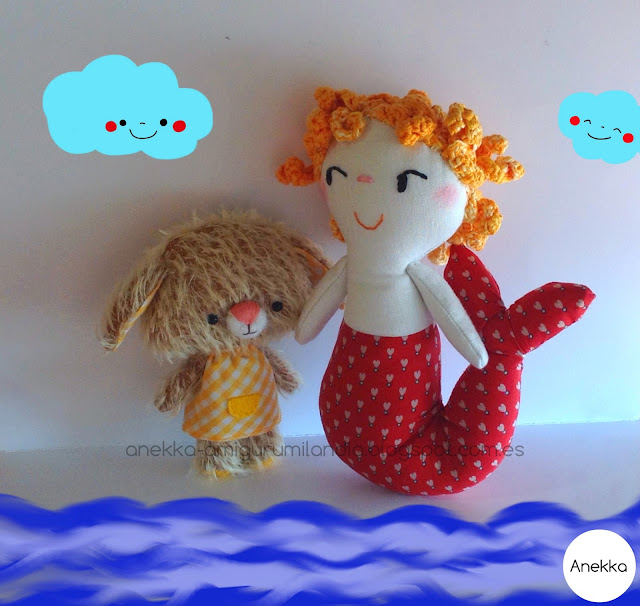 mohair  bear and mermaid