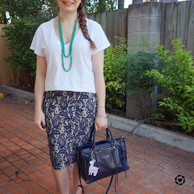 awayfromtheblue Instagram white tee lace skirt green necklace navy regan bag summer business casual office style