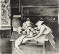 Dibujo a carboncillo sobre un cuadro de Cezanne