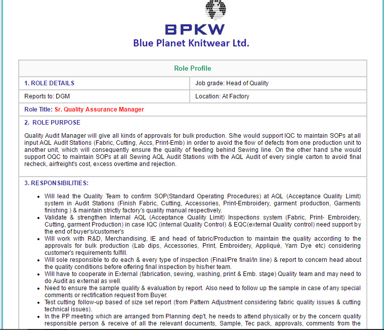 Blue Planet Knitwear Ltd  - Sr  Quality Assurance Manager - Job