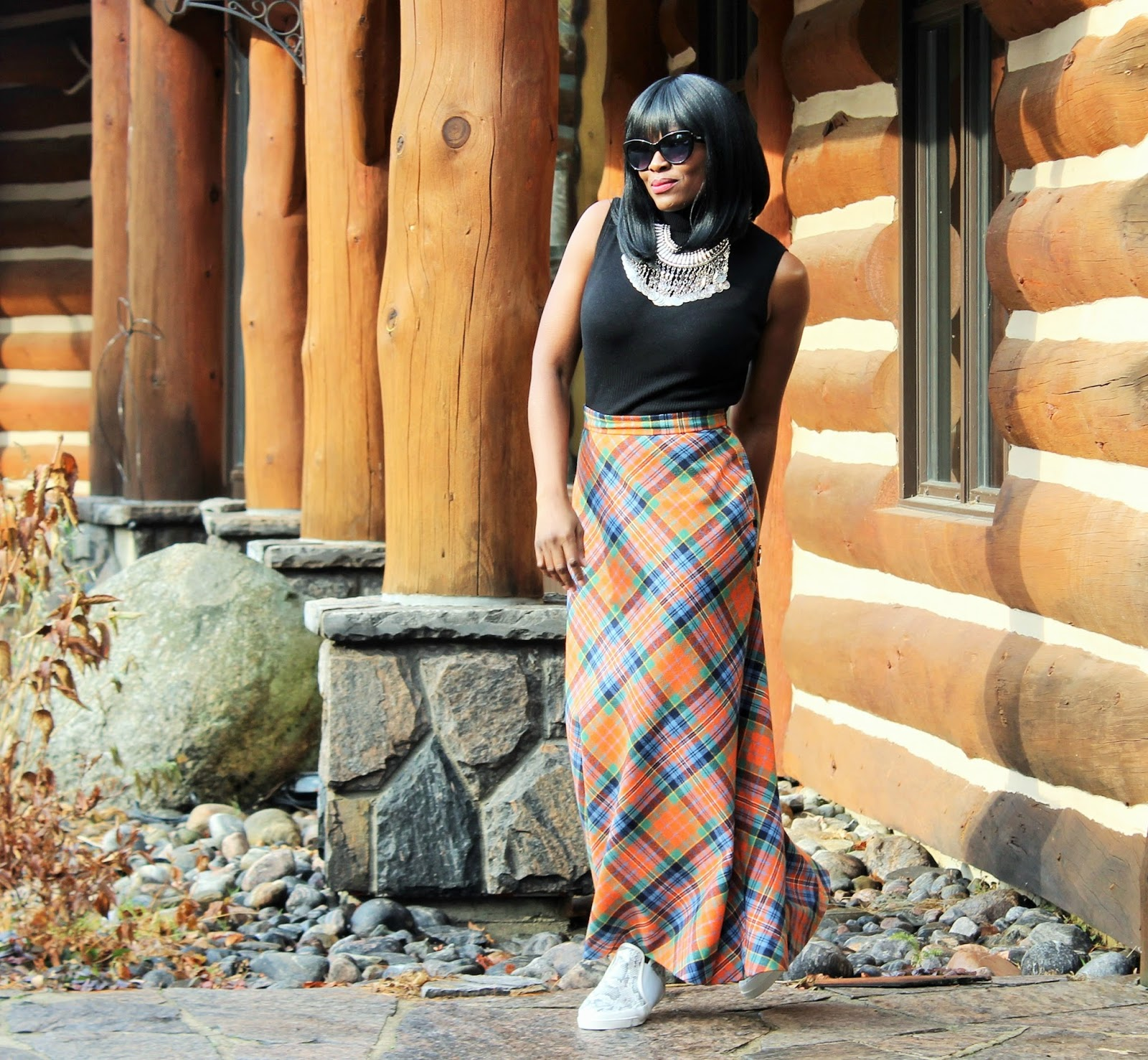 Butterfly Twists Trainers + Vintage Tartan Maxi Skirt