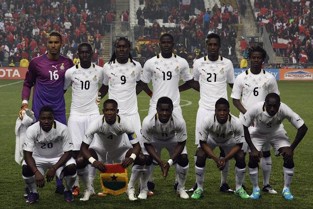 Formación de Ghana ante Chile, amistoso disputado el 29 de febrero de 2012
