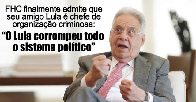 Resultado de imagem para Lula corrompeu todo o sistema político, admite Fernando Henrique Cardoso