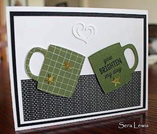 This all-occasion masculine card uses the Stampin' Up! Cups and Kettles framelits and the Going Places DSP
