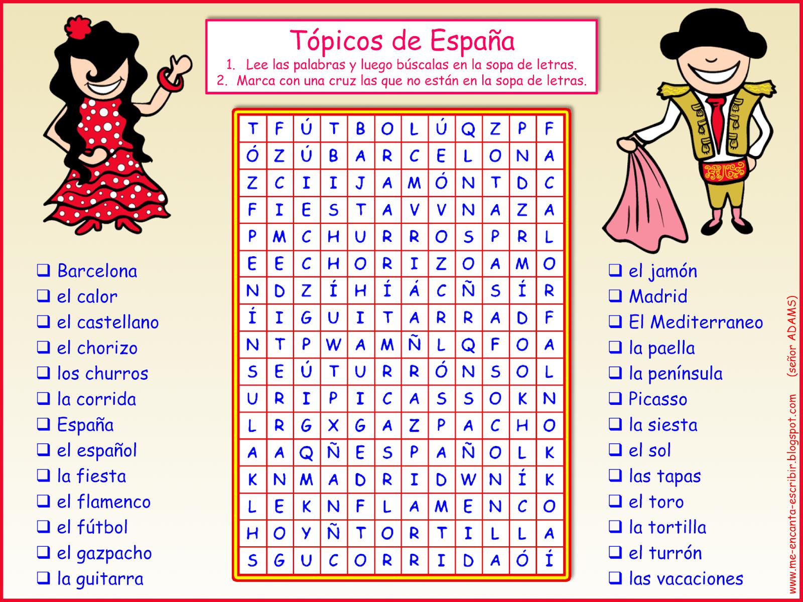 Me Encanta Escribir En Espanol Topicos De Espana Sopa De