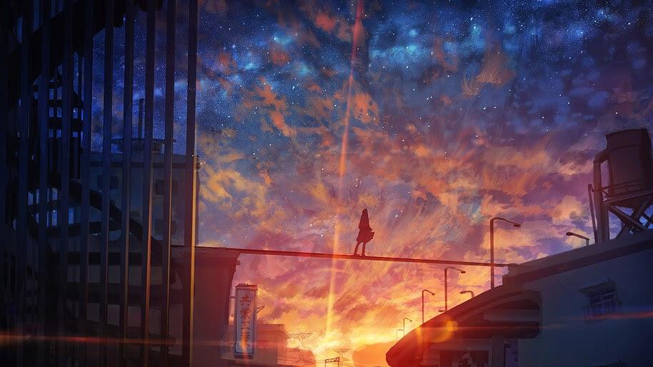 Sunset, Sky, Scenery, Anime, 4K, #6.1013