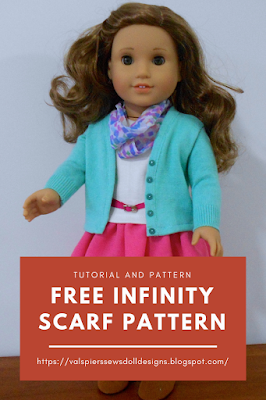 free tutorial and pattern for doll clothes infinity scarf